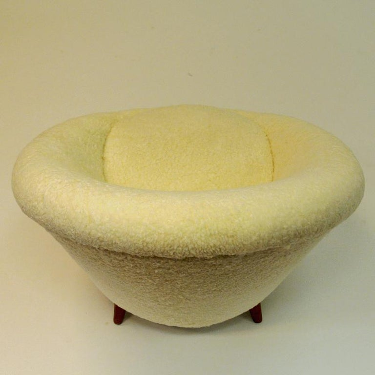 Midcentury Florida Easy chair in sheepskin from Vatne - Norway 1950s For Sale 3