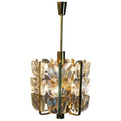 "Glass and Brass Chandelier Model ""Florida"" by Kalmar, circa 1970s"