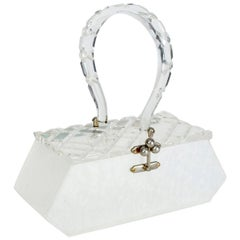Florida Handbags White Marble and Carved Crystal Lucite Box Purse, 1950s
