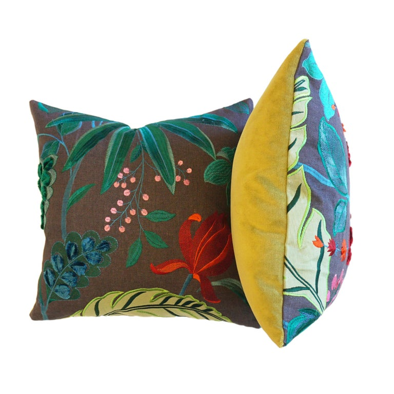 These vibrant throw pillows are made with Matthew Williamson's Floridita fabric featuring stunning floral embroidery on linen. The back is accented in lime green velvet. All pillows are handmade at our studio in Norwalk, CT. 