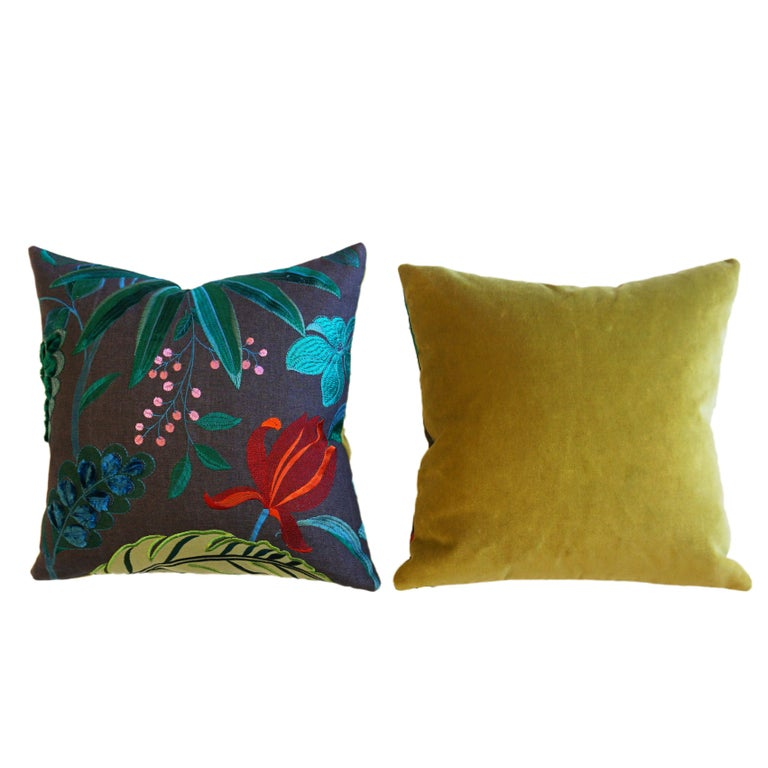 American Floridita Throw Pillows with Floral Embroidery For Sale