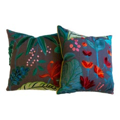 Floridita Throw Pillows with Floral Embroidery
