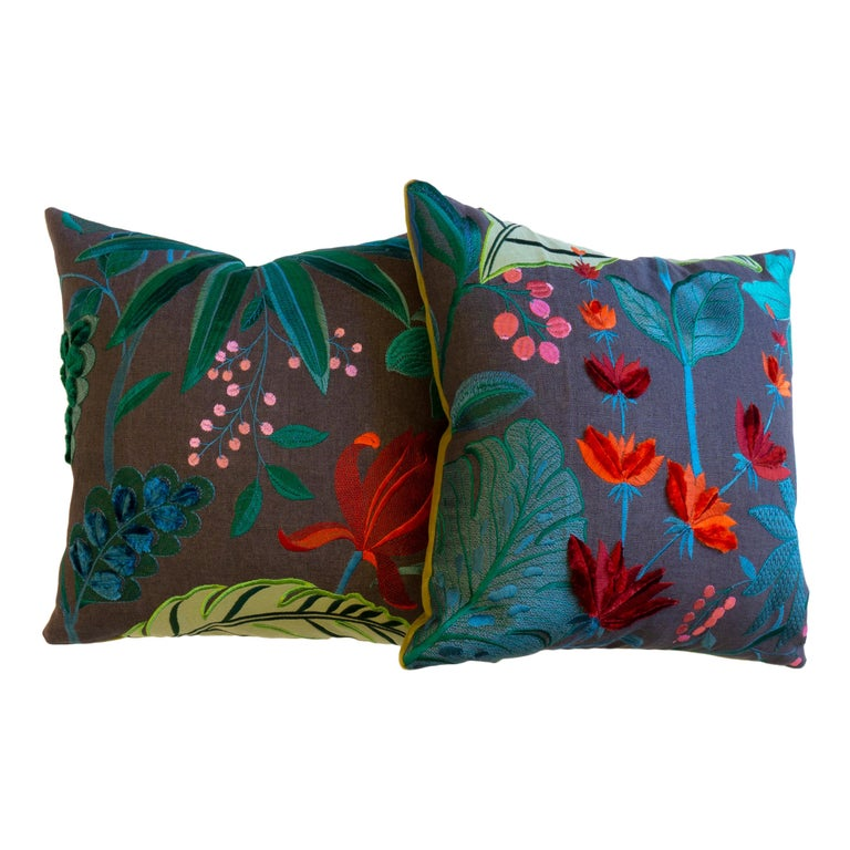 Floridita Throw Pillows with Floral Embroidery For Sale