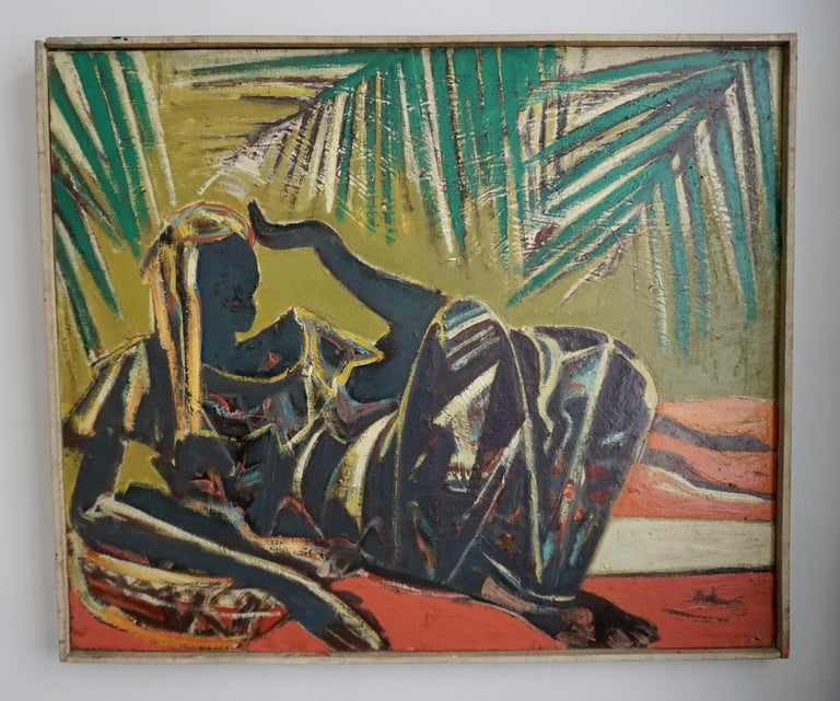Floris Jespers, Congolese Woman, Oil on Canvas, Framed In Good Condition For Sale In Antwerp, BE