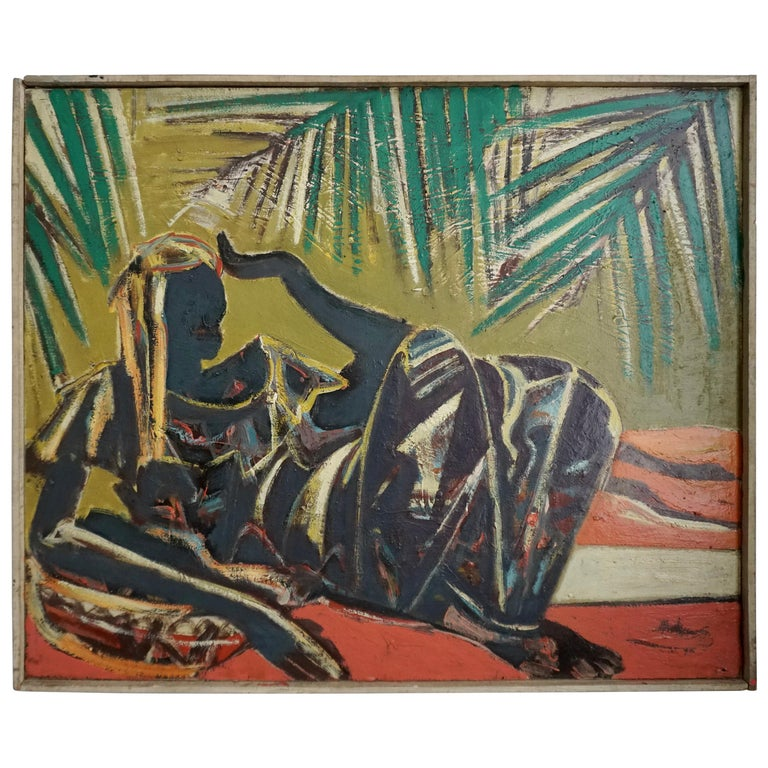 Floris Jespers, Congolese Woman, Oil on Canvas, Framed For Sale
