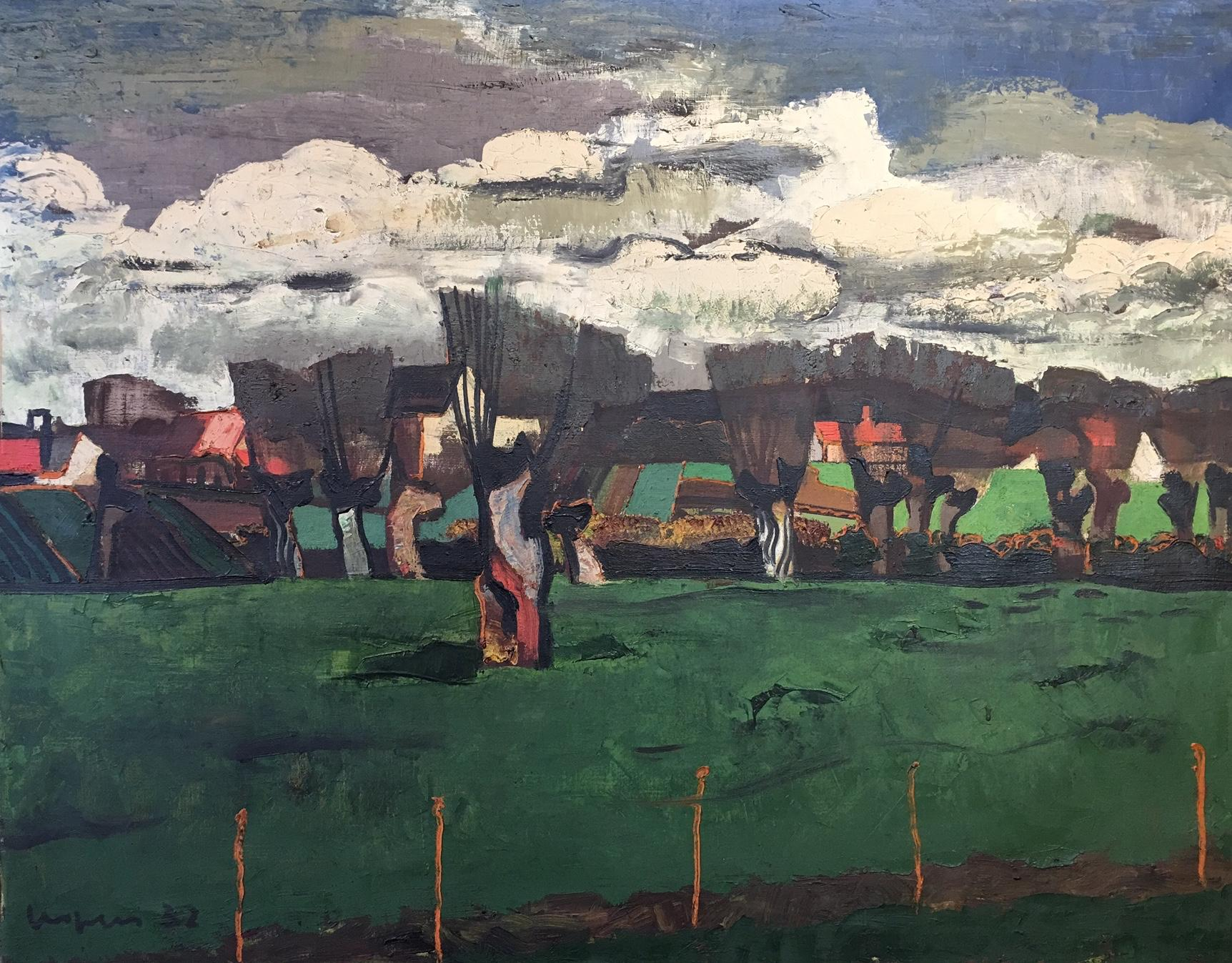 Paysage aux saules (Landscape with Willows), Floris Jespers. Large oil painting