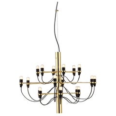 FLOS 2097/18 Suspension Lamp in Steel and Brass, by Gino Sarfatti