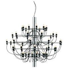 Flos 2097 / 30 Light Bulbs Iron Suspension Pendant Chandelier by Gino Sarfatti