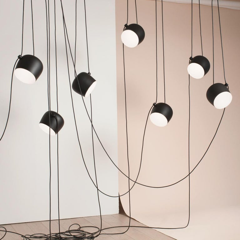 Aluminum Bouroullec Modern Black Pendant Aim Five Light Set w/ Canopy for FLOS, in stock For Sale