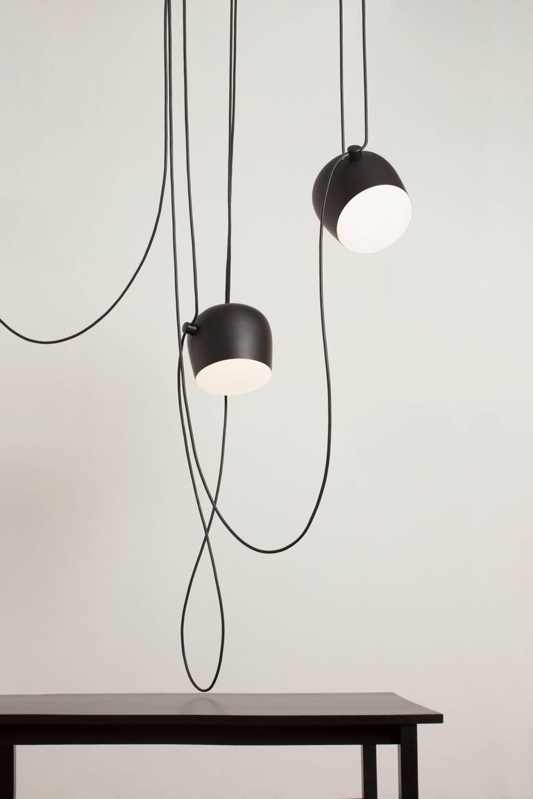 Italian Bouroullec Modern Black Pendant Aim Three Light Set w/ Canopy for FLOS, in stock For Sale