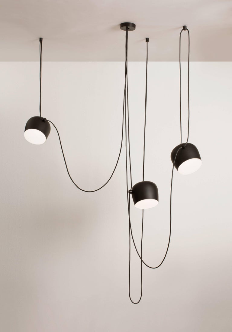 Bouroullec Modern Black Pendant Aim Three Light Set w/ Canopy for FLOS, in stock In New Condition For Sale In New York, NY