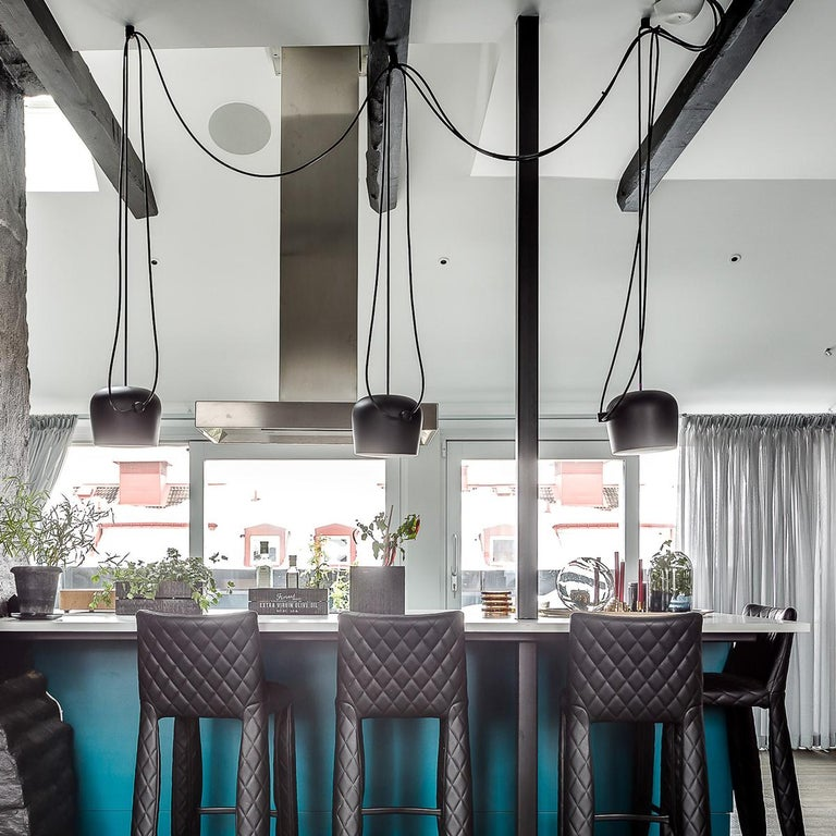 Contemporary Bouroullec Modern Black Pendant Aim Three Light Set w/ Canopy for FLOS, in stock For Sale