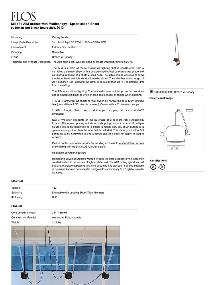 Aluminum Bouroullec Modern Black Pendant Aim Three Light Set w/ Canopy for FLOS, in stock For Sale