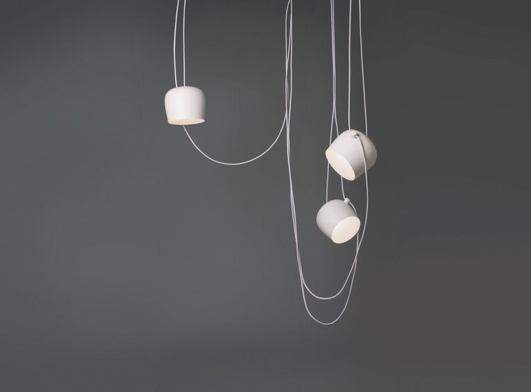 Modern Flos Aim White Three-Lamp Light Set with Canopy by Ronan & Erwan Bouroullec For Sale
