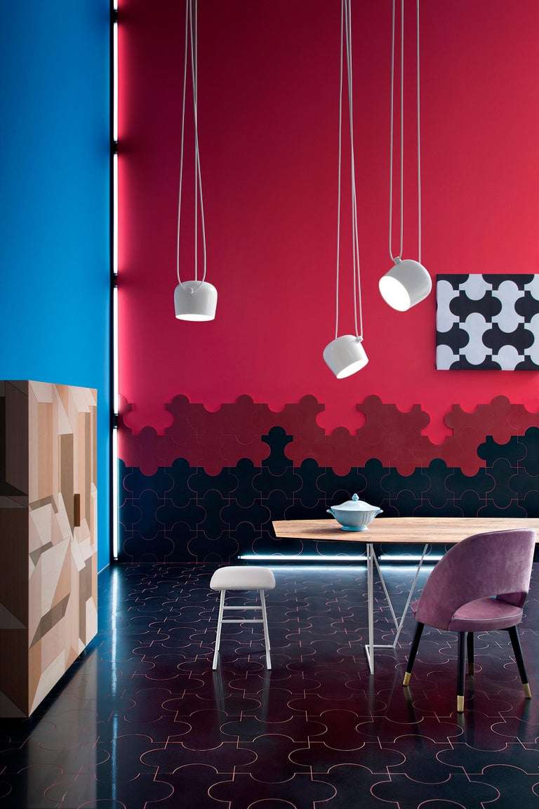 Italian Flos Aim White Three-Lamp Light Set with Canopy by Ronan & Erwan Bouroullec For Sale