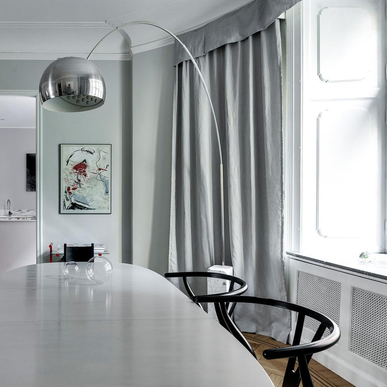 Castiglioni Arco Modern Arch Stainless Steel & Marble Floor Lamp, FLOS, in stock For Sale 4