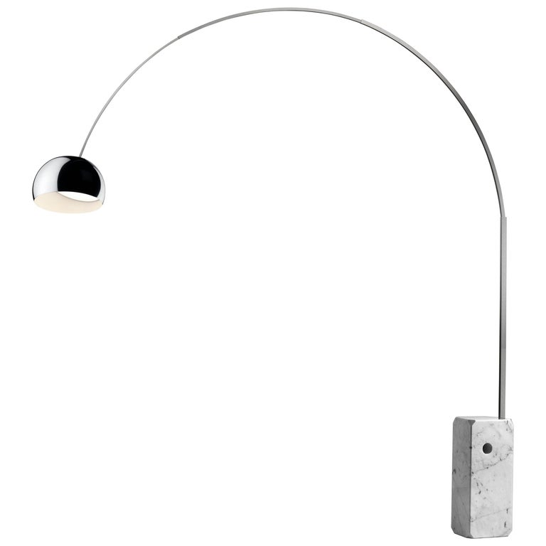 Castiglioni Arco Modern Arch Stainless Steel & Marble Floor Lamp, FLOS, in stock For Sale