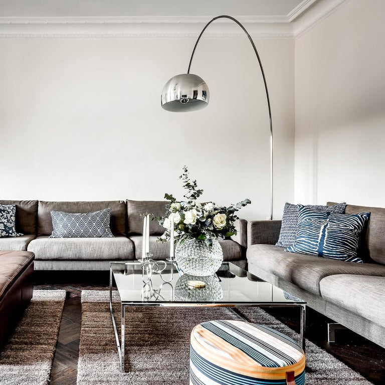 Castiglioni Arco Modern Arch Stainless Steel & Marble Floor Lamp, FLOS, in stock For Sale 5