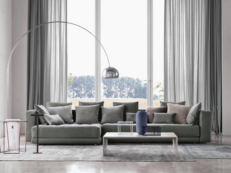 Aluminum Castiglioni Arco Modern Arch Stainless Steel & Marble Floor Lamp, FLOS, in stock For Sale