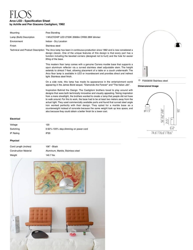 Castiglioni Arco Modern Arch Stainless Steel & Marble Floor Lamp, FLOS, in stock For Sale 7