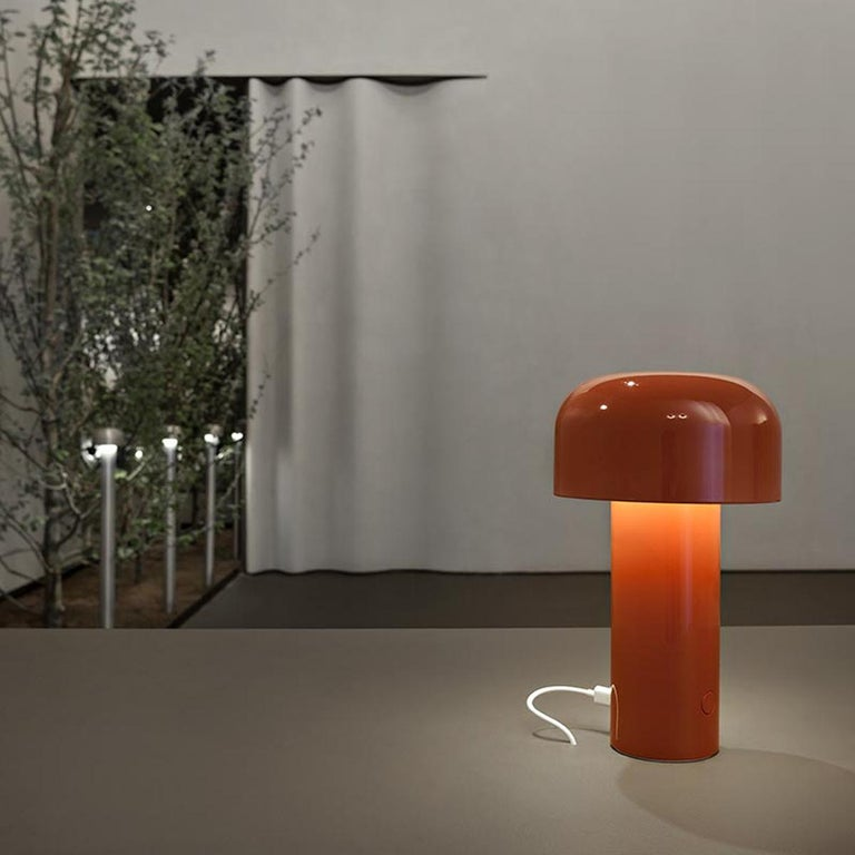 Italian FLOS Modern Resin Burnt Orange Portable Rechargable Wireless Desk & Table Lamp For Sale