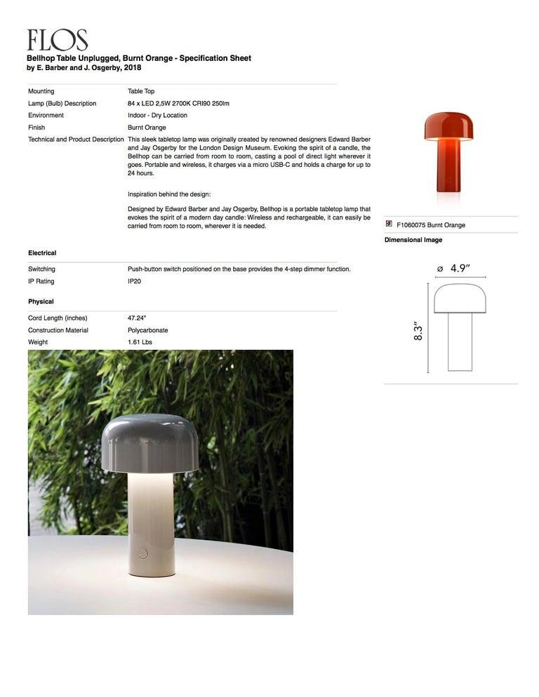 Modern Resin White Portable Rechargable Wireless Desk or Table Lamp for FLOS For Sale 5