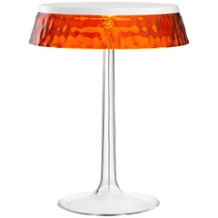 FLOS Bon Jour Chrome Table Lamp w/ Amber Crown by Philippe Starck