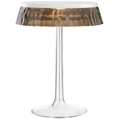 FLOS Bon Jour Chrome Table Lamp w/ Fumee Crown by Philippe Starck