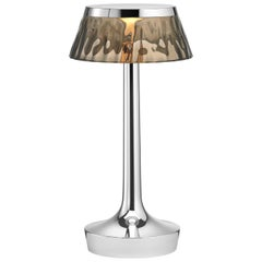 FLOS Bon Jour Unplugged Chrome Lamp w/ Fumee Crown by Philippe Starck