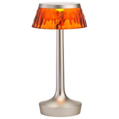 FLOS Bon Jour Unplugged Matte Chrome Lamp w/ Amber Crown by Philippe Starck