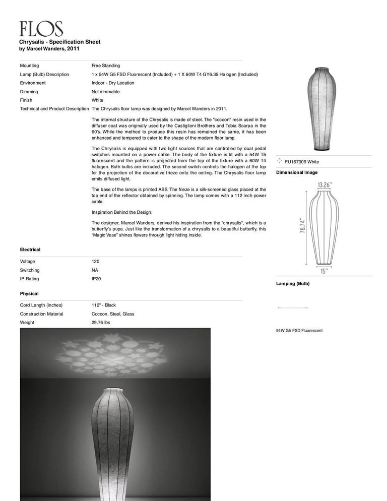 Contemporary FLOS Chrysalis Floor Lamp by Marcel Wanders For Sale