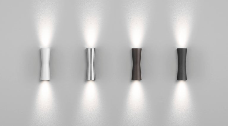 Modern FLOS Clessidra 20° + 20° Outdoor Wall Lamp in Grey by Antonio Citterio For Sale