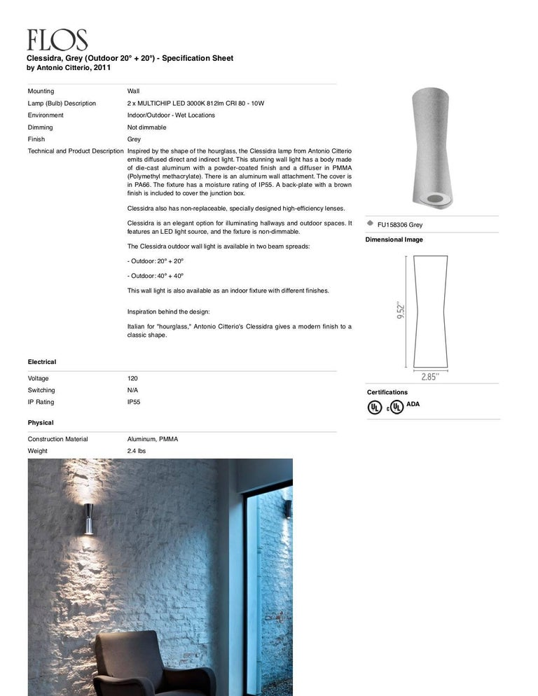 Contemporary FLOS Clessidra 20° + 20° Outdoor Wall Lamp in Grey by Antonio Citterio For Sale