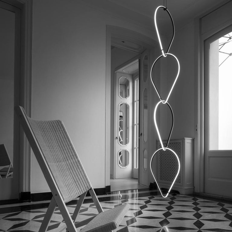 Aluminum FLOS Drop Down and Medium Circle Arrangements Light by Michael Anastassiades For Sale