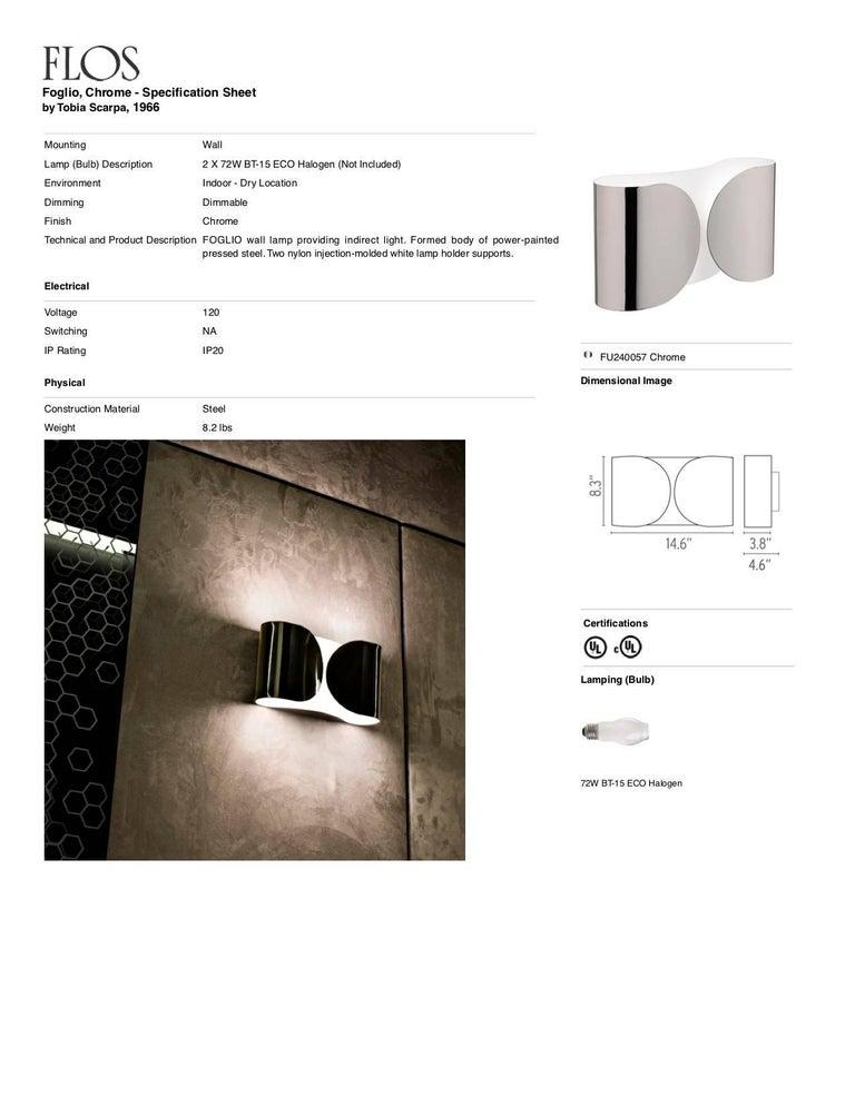 Italian FLOS Foglio Light in Chrome by Tobia Scarpa For Sale