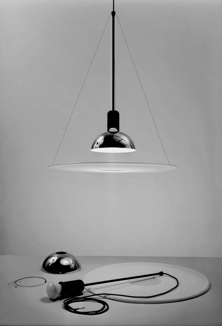 Italian FLOS Frisbi Pendant Light in Nickel by Achille Castiglioni For Sale