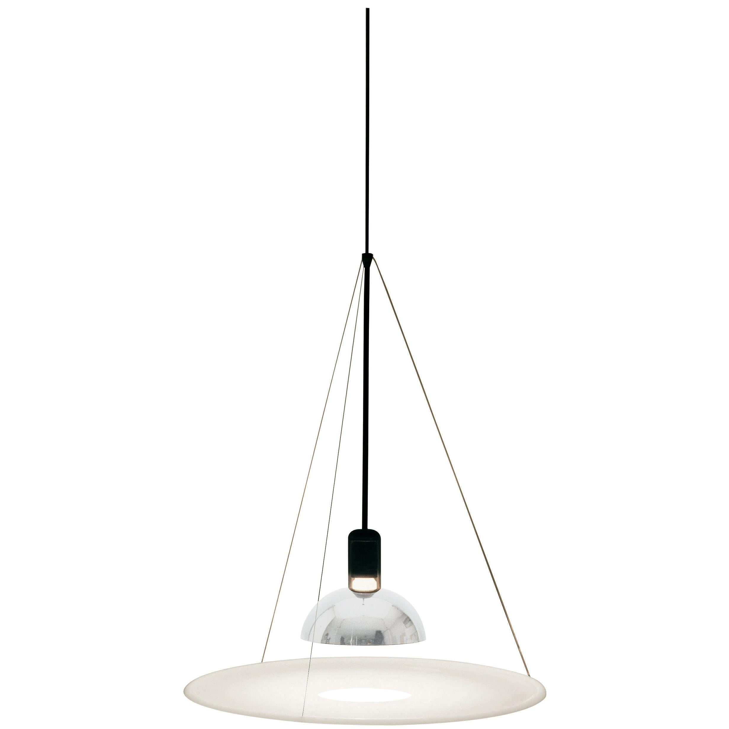FLOS Frisbi Pendant Light in Nickel by Achille Castiglioni
