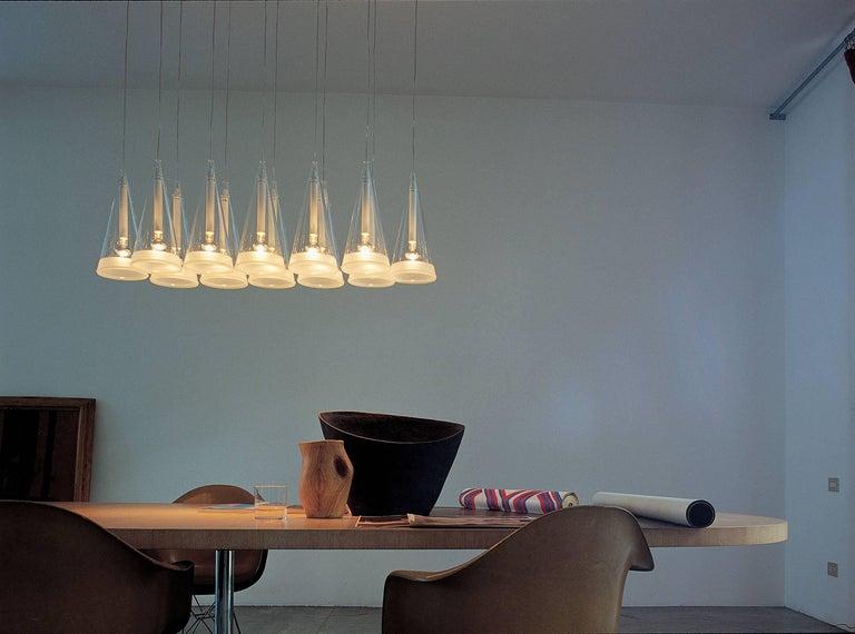 FLOS Fucsia 12 Pendant Light w/ Clear Cord by Achille Castiglioni
