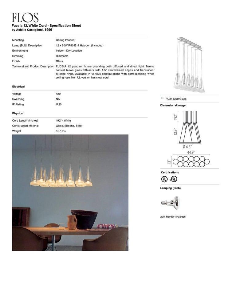 Italian FLOS Fucsia 12 Pendant Light with White Cord by Achille Castiglioni For Sale