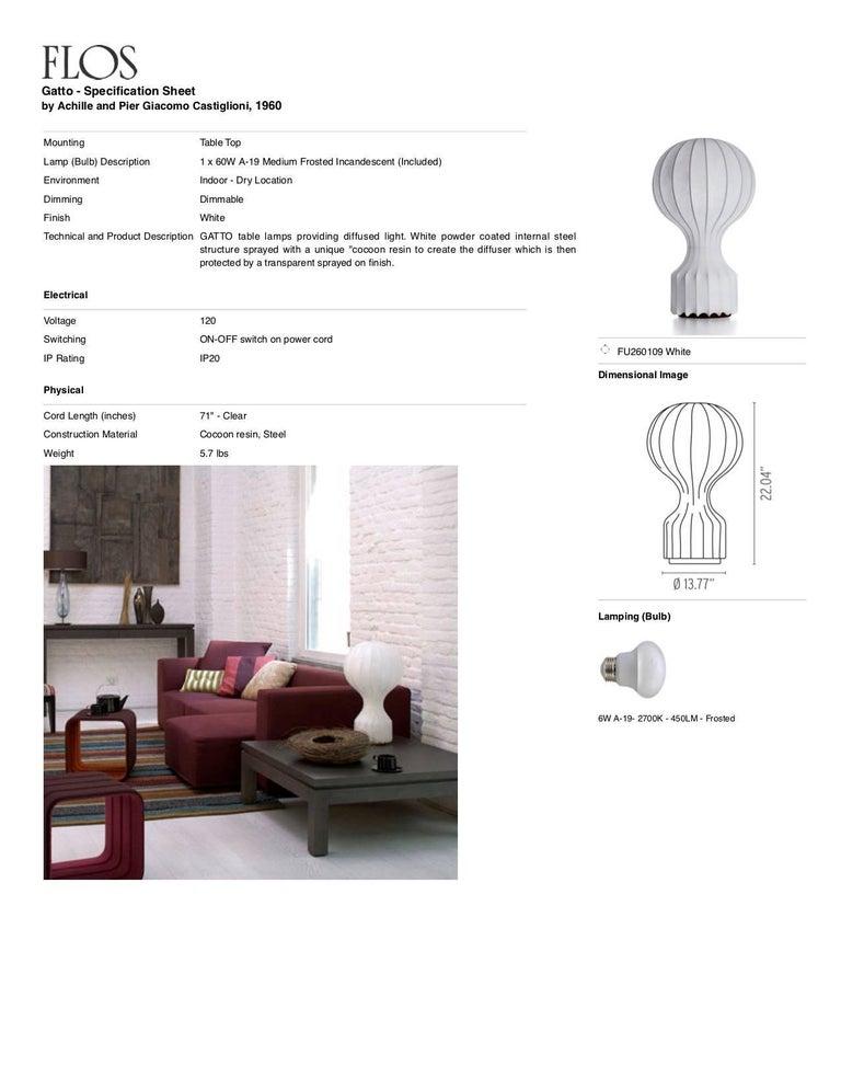 Steel FLOS Gatto Table Lamp by Achille & Pier Giacomo Castiglioni For Sale