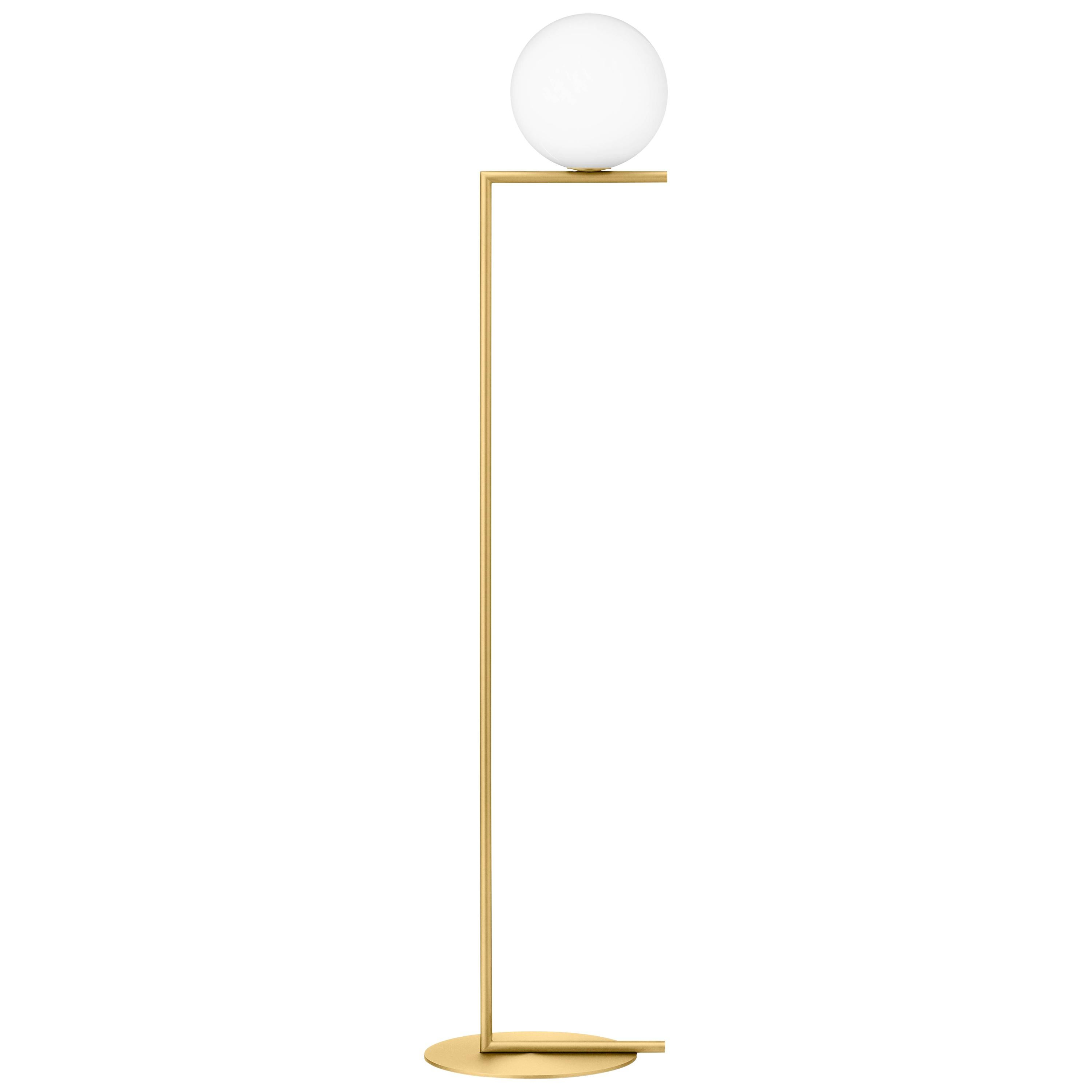 Michael Anastassiades Modern Floor lamp in Brass Base and Glass for FLOS