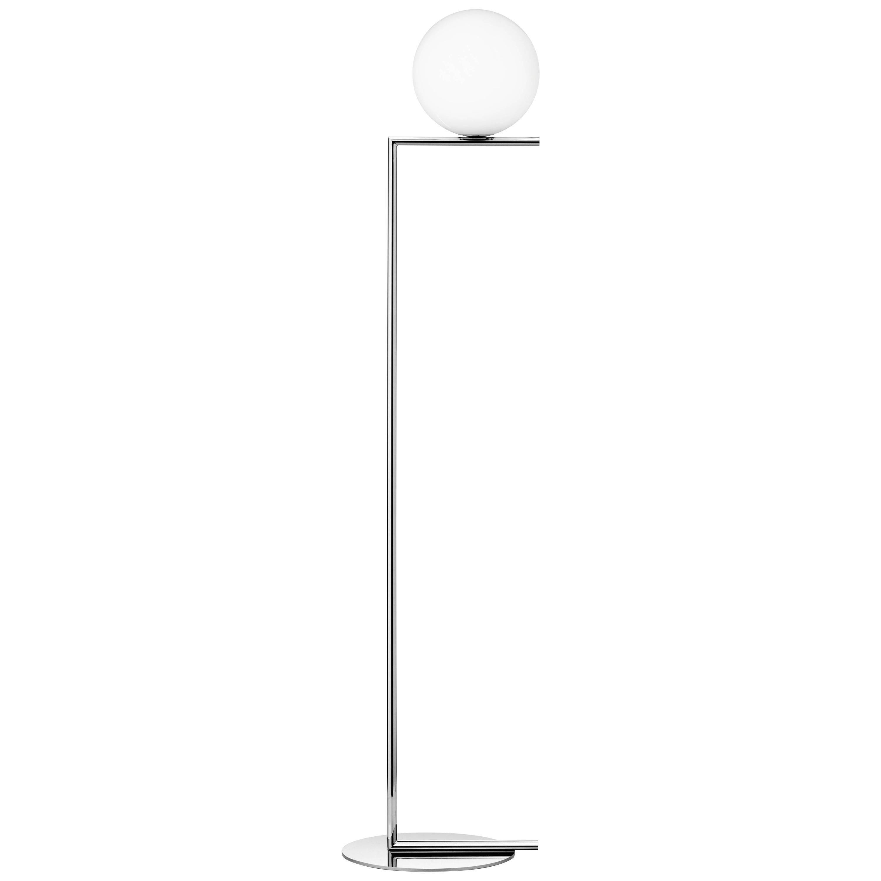 Michael Anastassiades Modern Floor lamp in Chrome Steel Base and Glass for FLOS