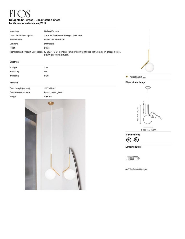 Italian FLOS IC Lights S1 Pendant Light in Brass by Michael Anastassiades For Sale