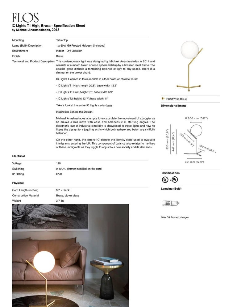 Italian FLOS IC Lights T1 High Table Lamp in Brass by Michael Anastassiades For Sale