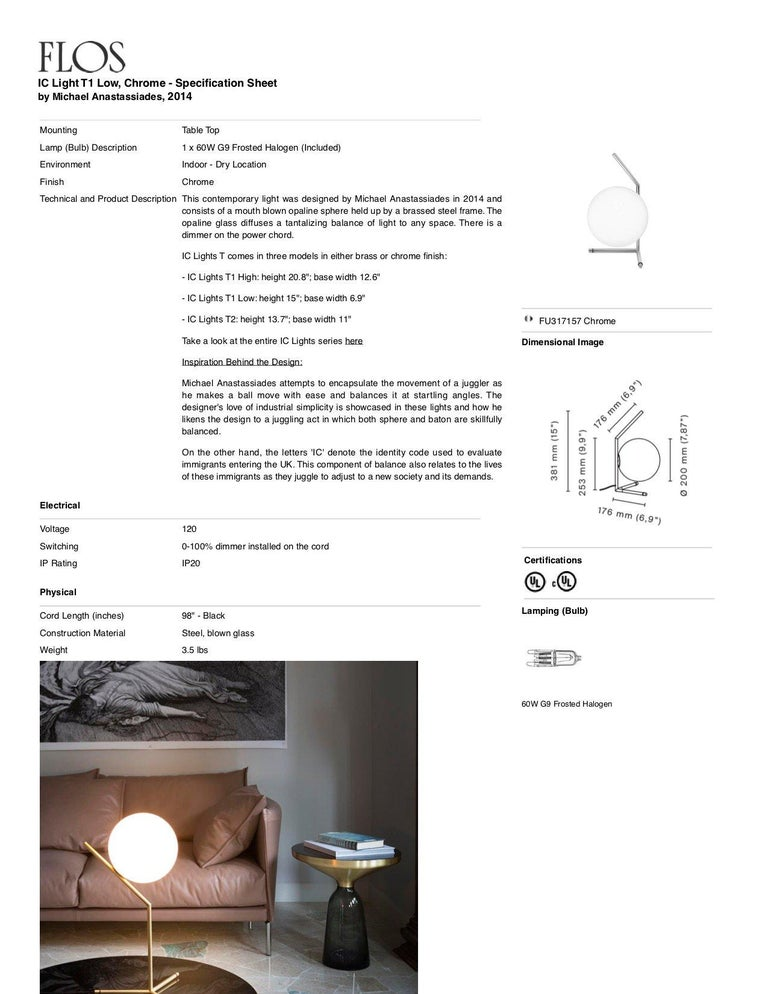 Italian FLOS IC Lights T1 Low Table Lamp in Chrome by Michael Anastassiades For Sale