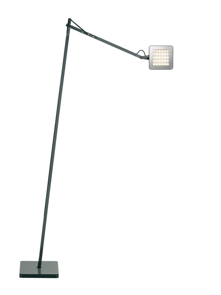Part of the popular Kelvin LED family, the Kelvin LED F floor lamp features the collection's signature square head and utilizes the latest technology to provide precise customization of output. The three-step on/off switch utilizes Soft Touch