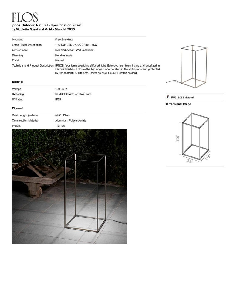 Italian FLOS Ipnos Outdoor Floor Lamp in Natural by Nicoletta Rossi & Guido Bianchi For Sale