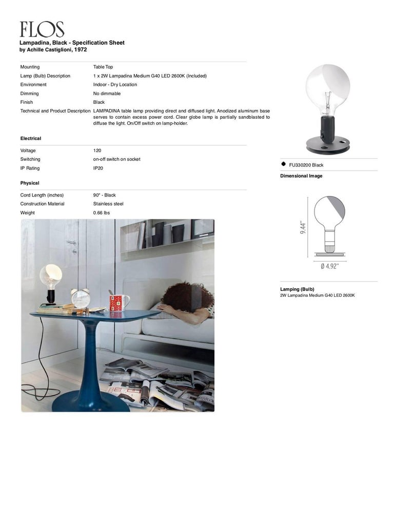 FLOS Lampadina LED Table Lamp in Black by Achille Castiglioni For Sale 4