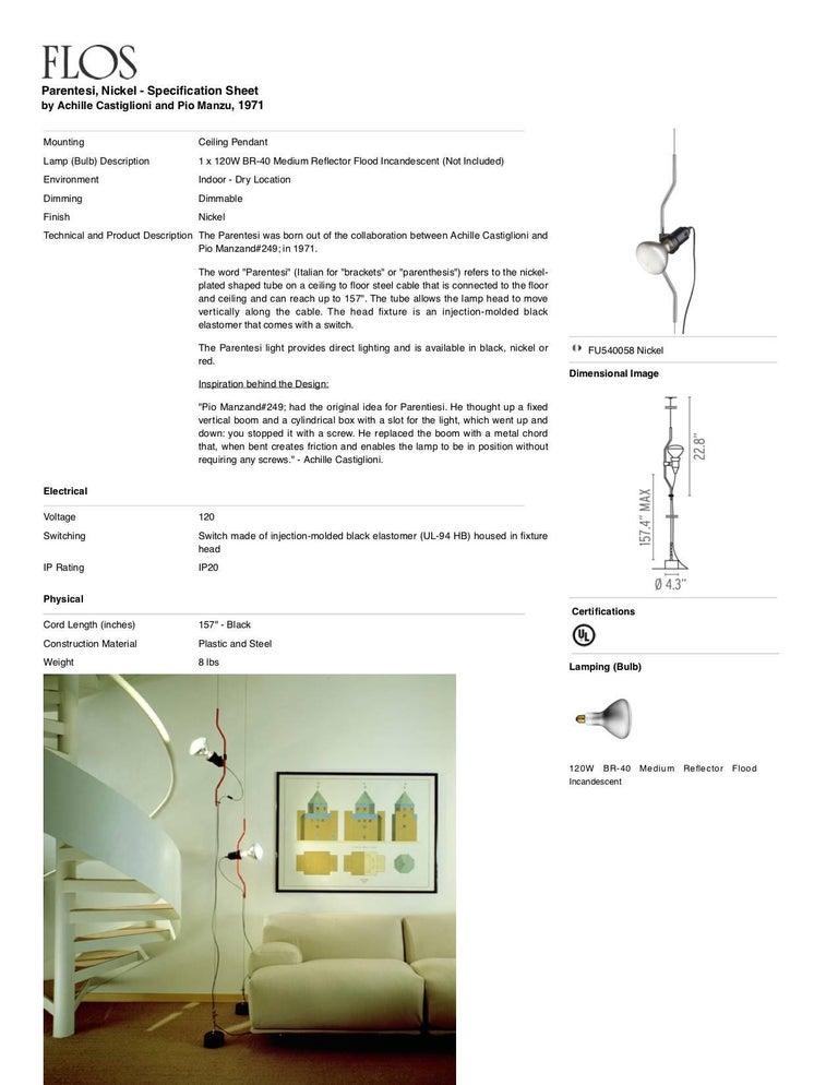 Steel FLOS Parentesi Pendant Light in Nickel by Achille Castiglioni & Pio Manzu For Sale