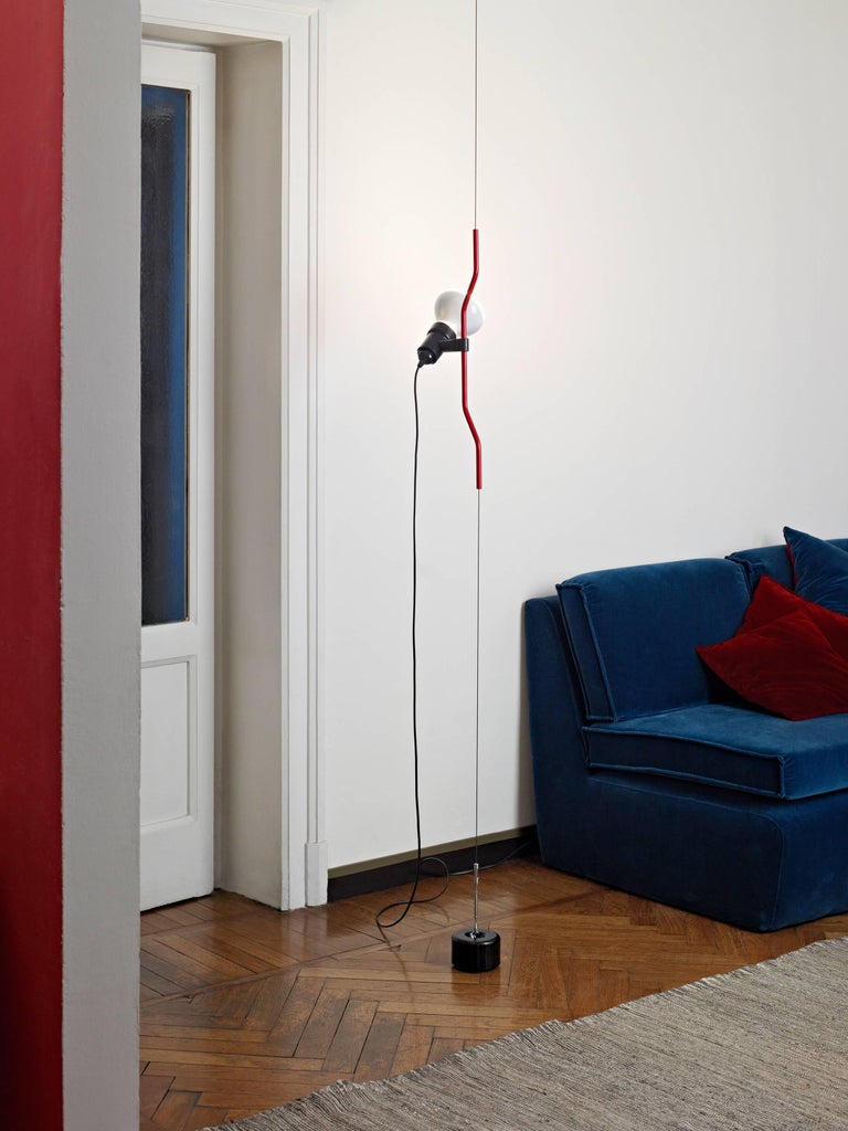 Modern FLOS Parentesi Pendant Light in Red by Achille Castiglioni & Pio Manzu For Sale
